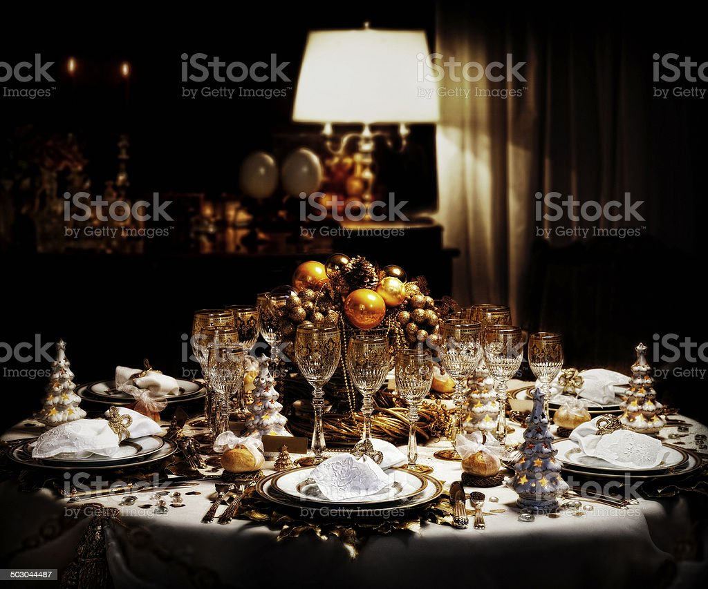 Decorated christmas dining table stock photo