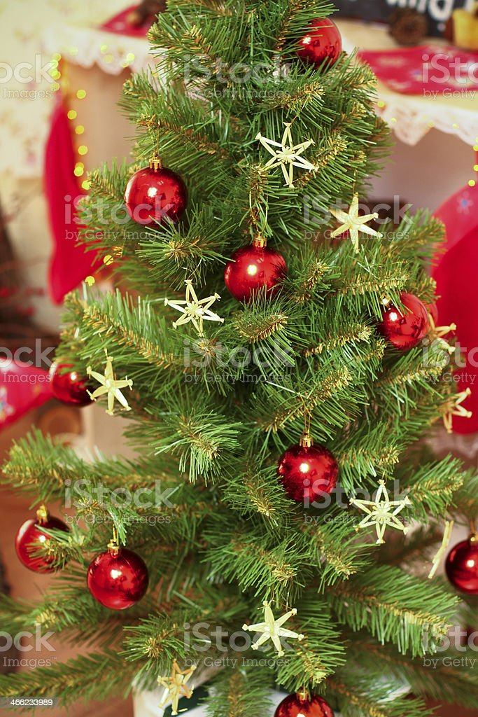 Decorated Christmas or New Year tree indoors royalty-free stock photo