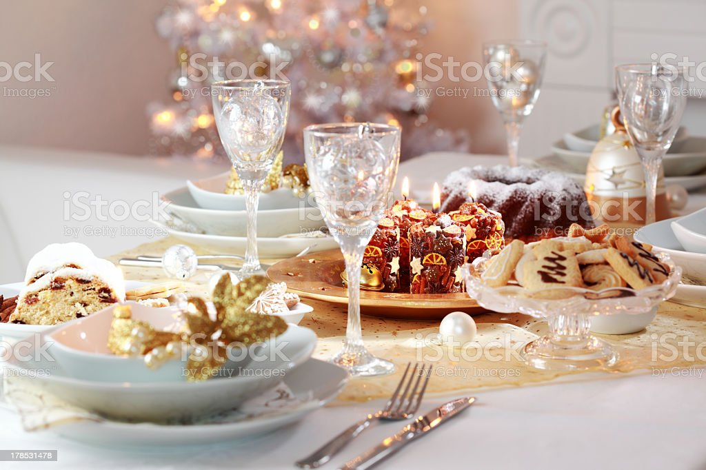 A decorated Christmas table for dinner stock photo