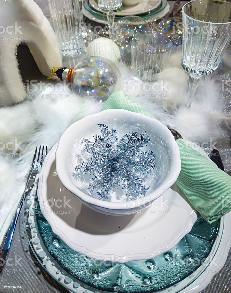 Decorated Christmas table setting stock photo