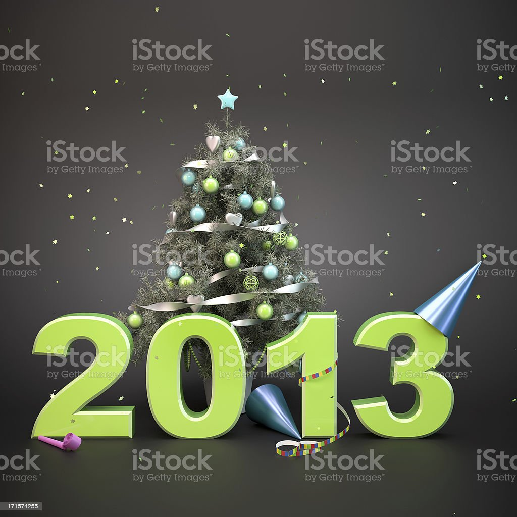 Decorated Christmas Tree and party accessories with 2013 text. royalty-free stock photo