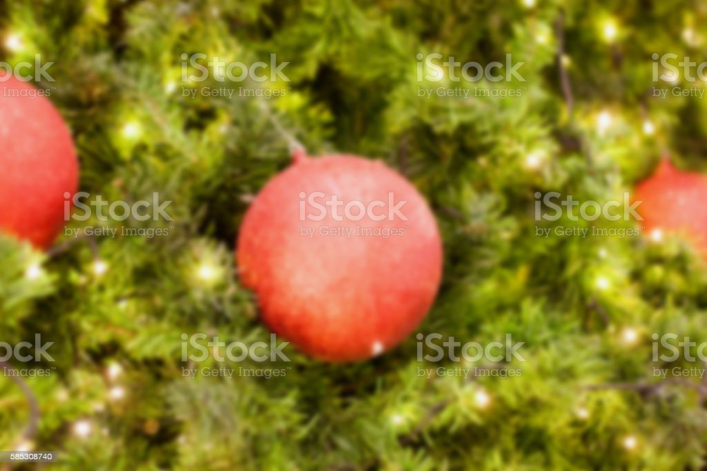 Decorated Christmas tree blurred background stock photo