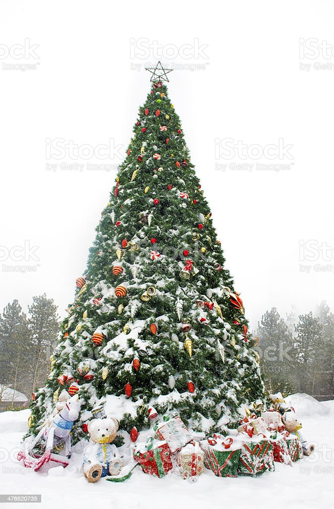 Decorated Christmas Tree in a Snowstorm royalty-free stock photo