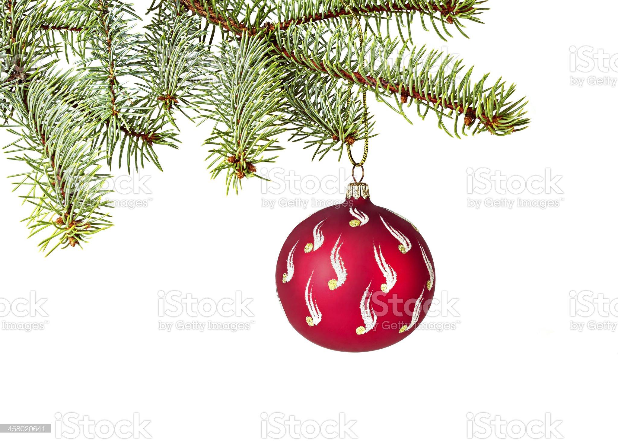 Decorated Christmas tree on white background royalty-free stock photo