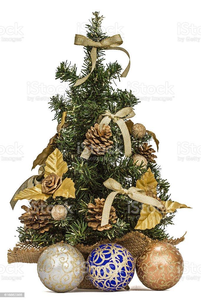 Decorated Christmas tree on white background stock photo