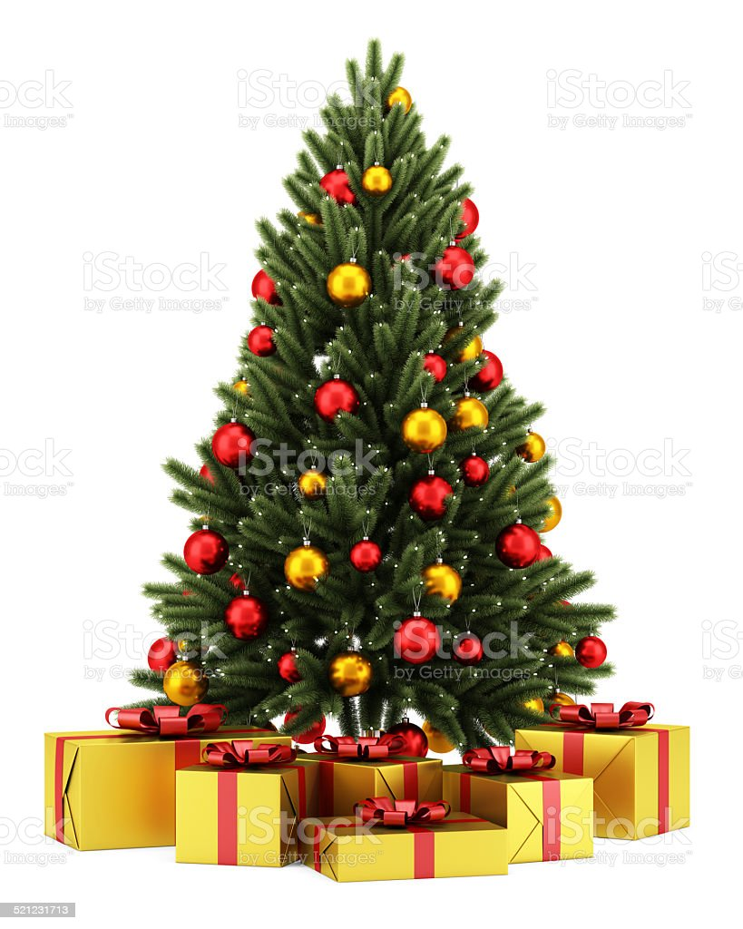 decorated christmas tree with gift boxes isolated on white background stock photo