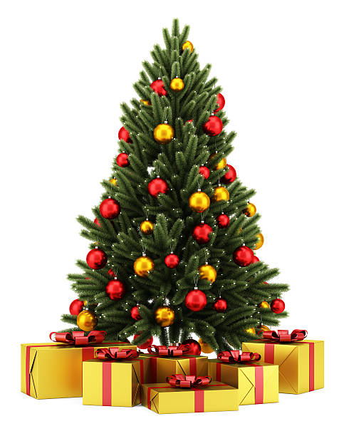 decorated christmas tree with gift boxes isolated on white background stock photo - Decorative Christmas Trees