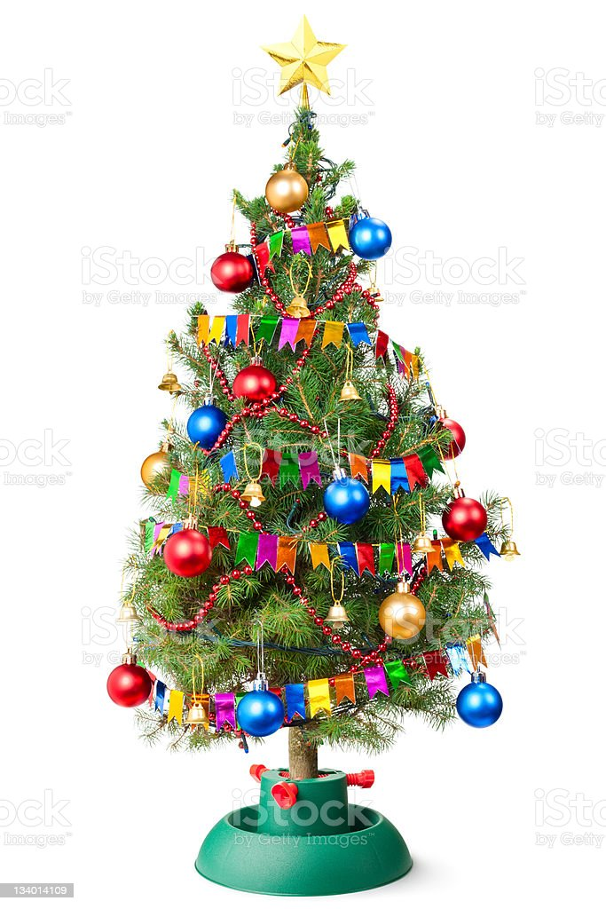 Decorated Christmas tree with unplugged garland royalty-free stock photo