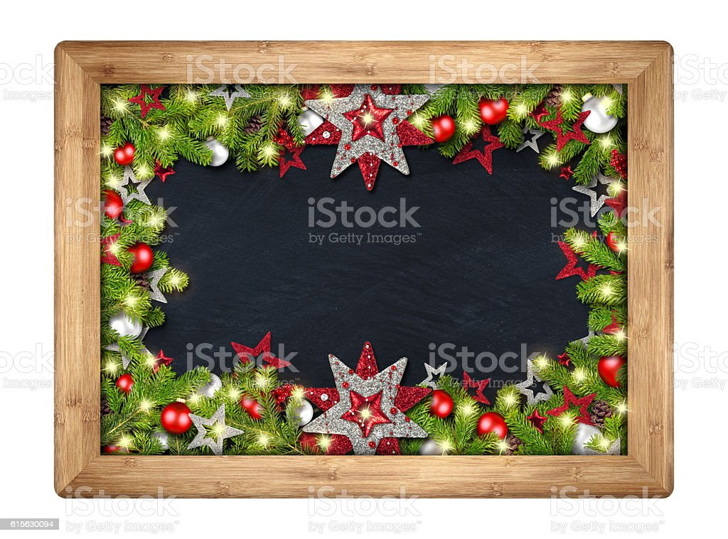 decorated christmas xmas blackboard with fir branches stock photo