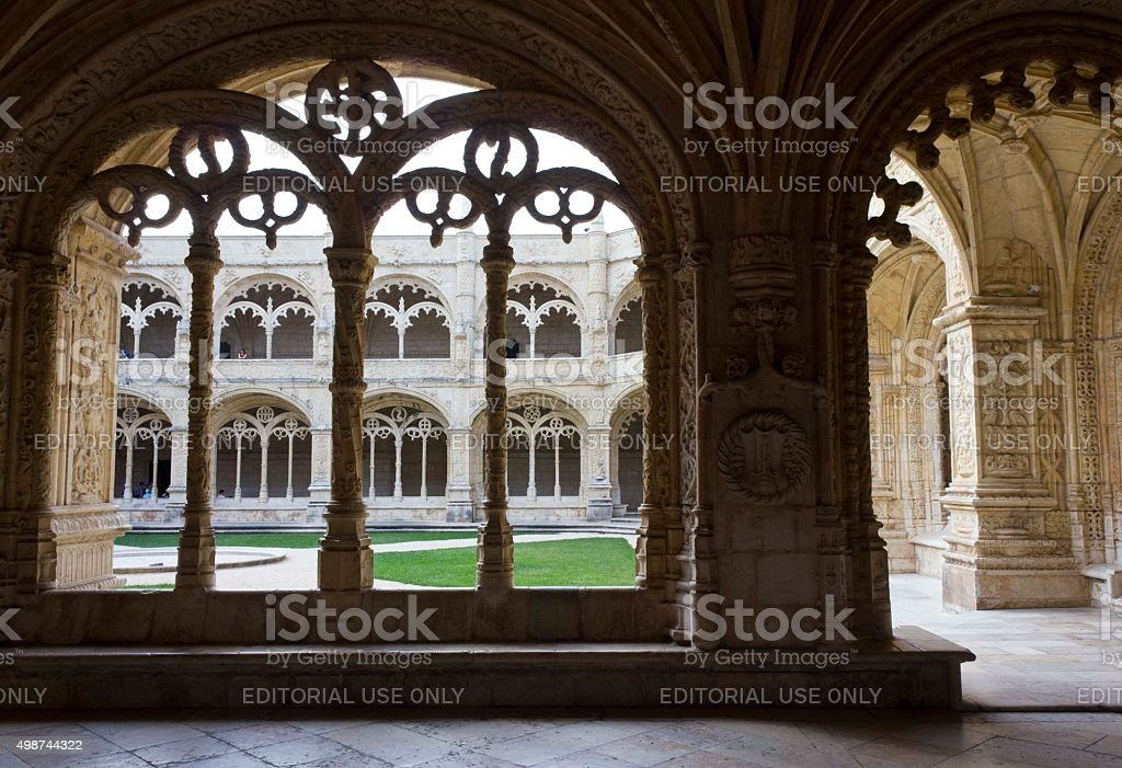 Decorated cloister arches in Jeronimos monastery stock photo