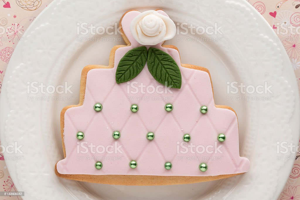 Decorated cookies with wedding cake shape stock photo