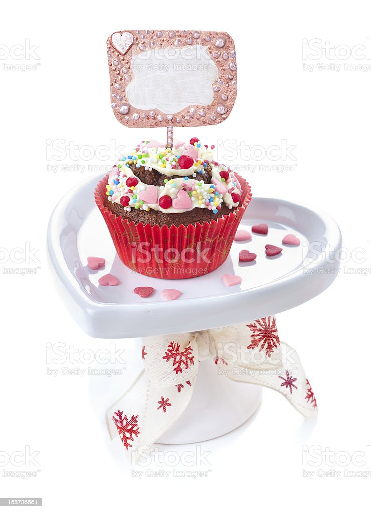 Decorated cupcake on white background royalty-free stock photo