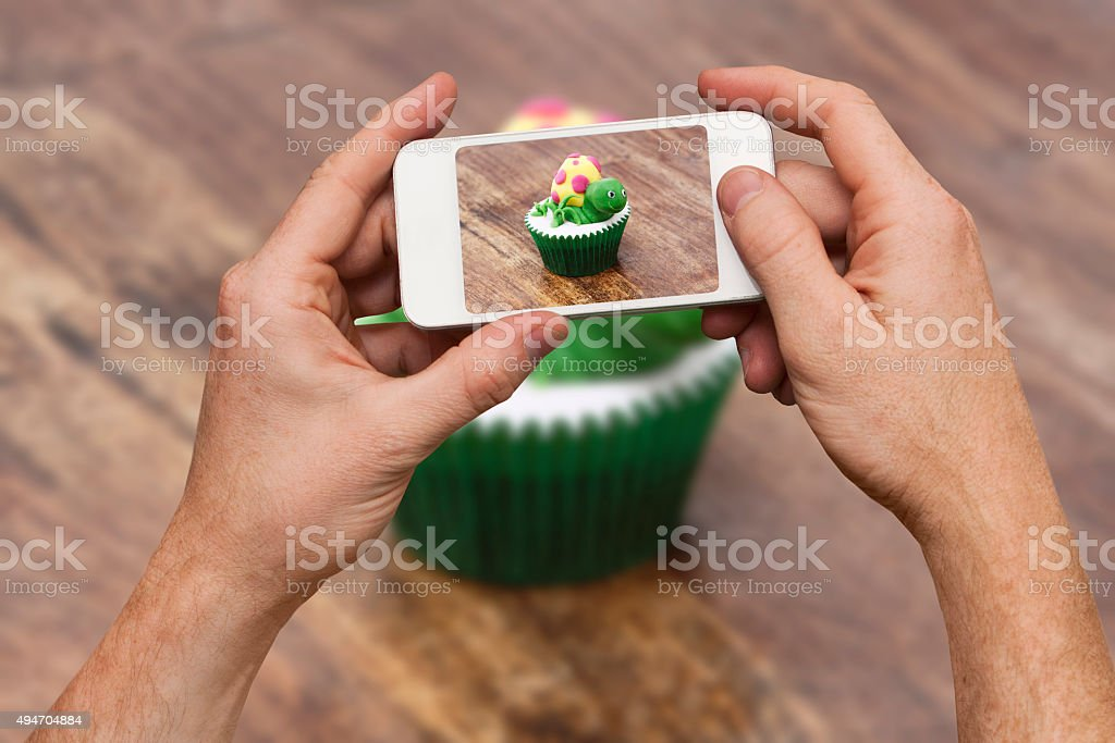 Decorated Cupcake Selfie stock photo