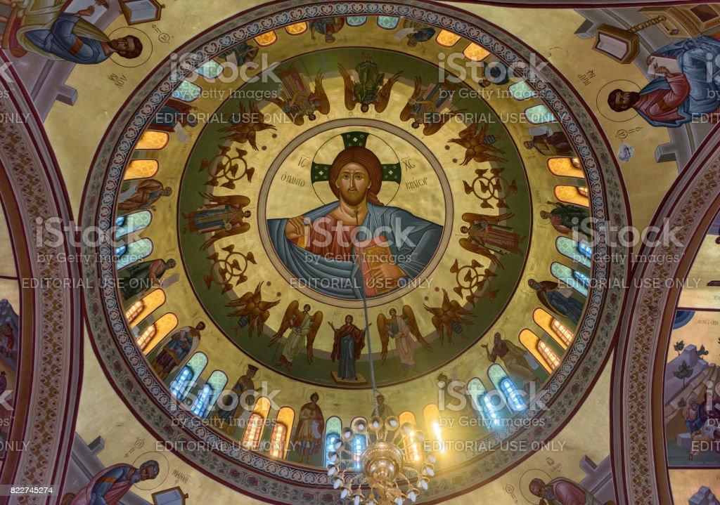 Decorated dome ceiling inside Catholic church in Santorini, Greece stock photo
