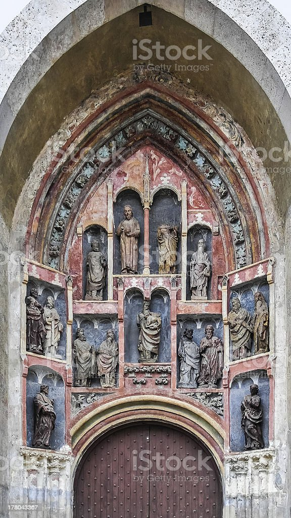 Decorated door of St Mark church in Zagreb Croatia stock photo
