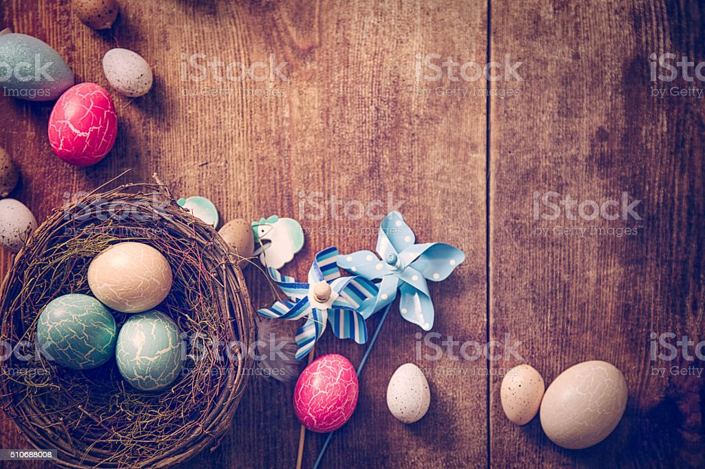Decorated Easter Eggs Background stock photo