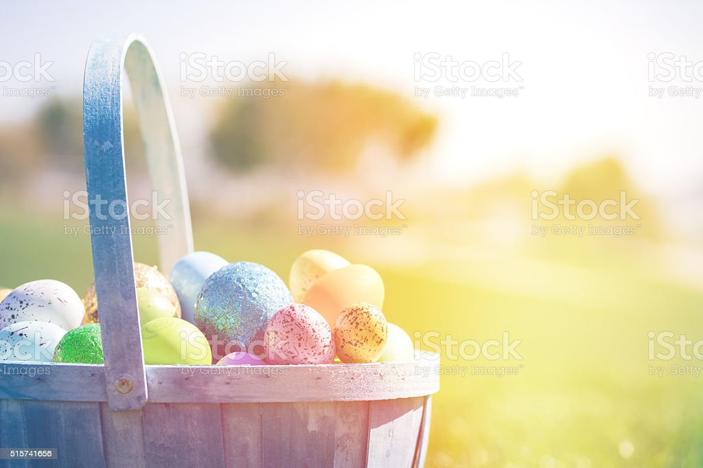 Decorated Easter Eggs in Grass stock photo