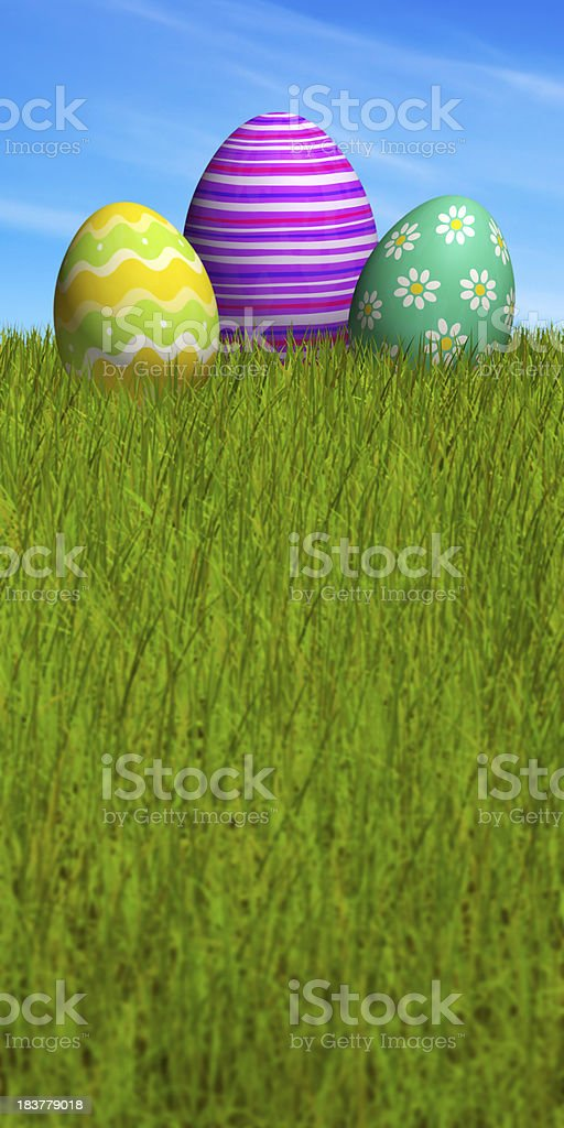 Decorated Easter eggs in the grass under a blue sky royalty-free stock photo