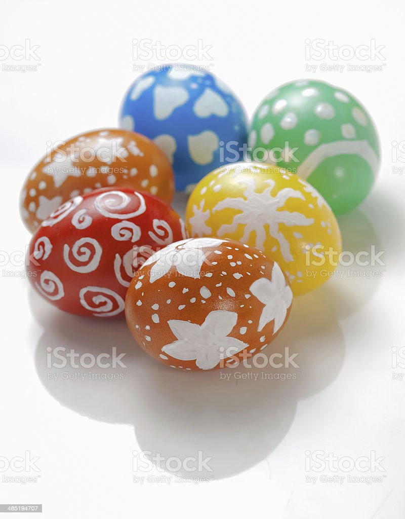 Decorated easter eggs on white background stock photo