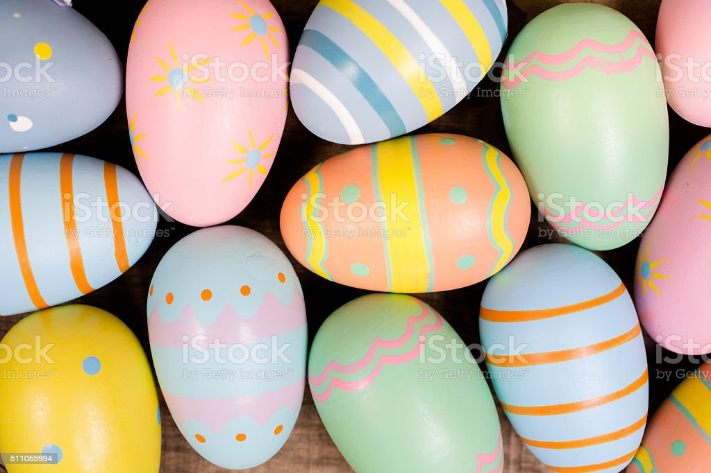 Decorated Easter eggs. Seasonal background, full frame. stock photo