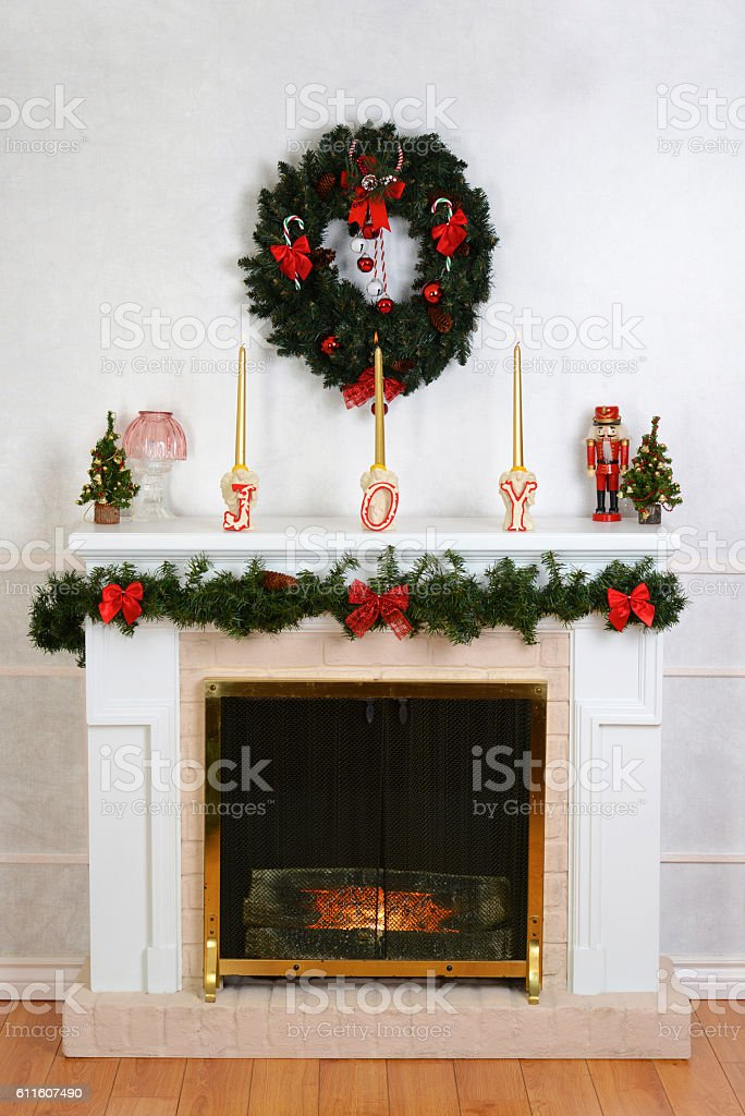 decorated fireplace for christmas stock photo