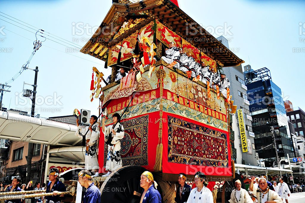 Decorated float being pulled in Gion Festival, Kyoto, Japan stock photo