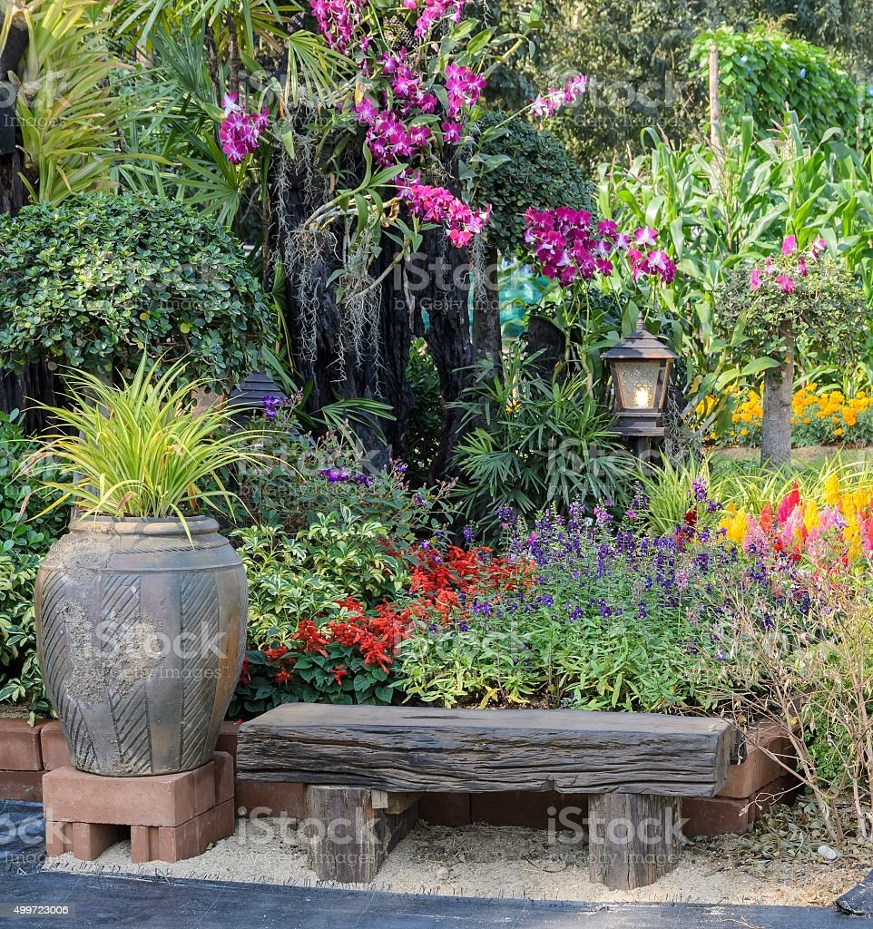 Decorated flower garden stock photo