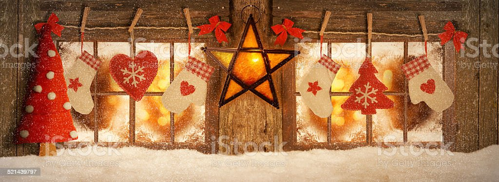 Decorated for Christmas windows stock photo
