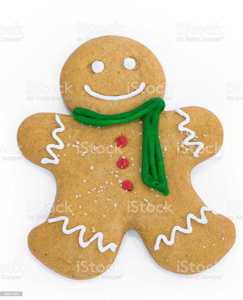 Decorated gingerbread man on a white background stock photo