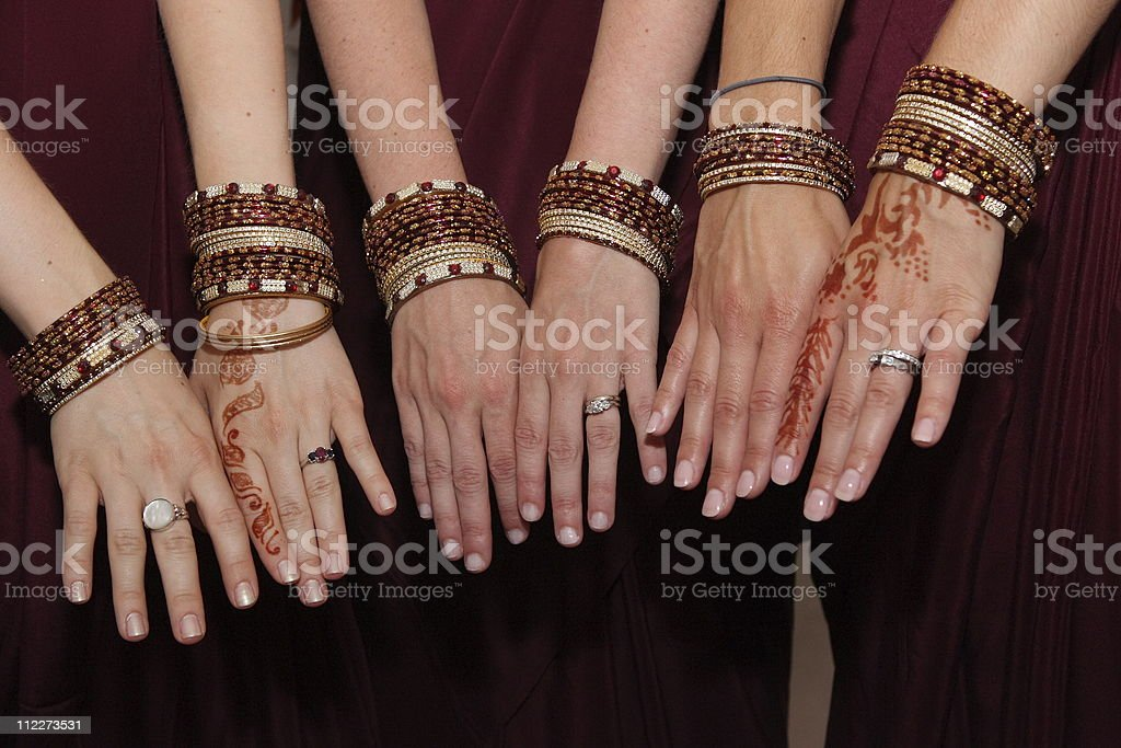 Decorated hands with henna tatoo royalty-free stock photo