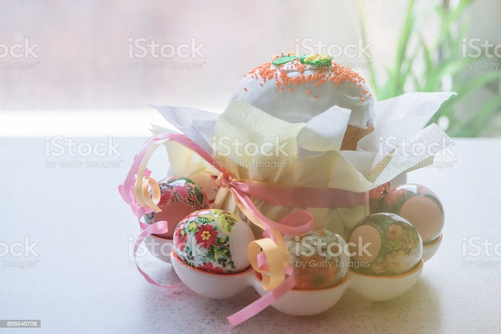 Decorated Happy Easter Cake And Painted Eggs, Closeup stock photo