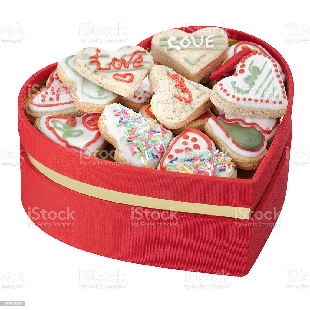 Decorated Heart Shaped Cookies in Red Beatiful Gift Box royalty-free stock photo