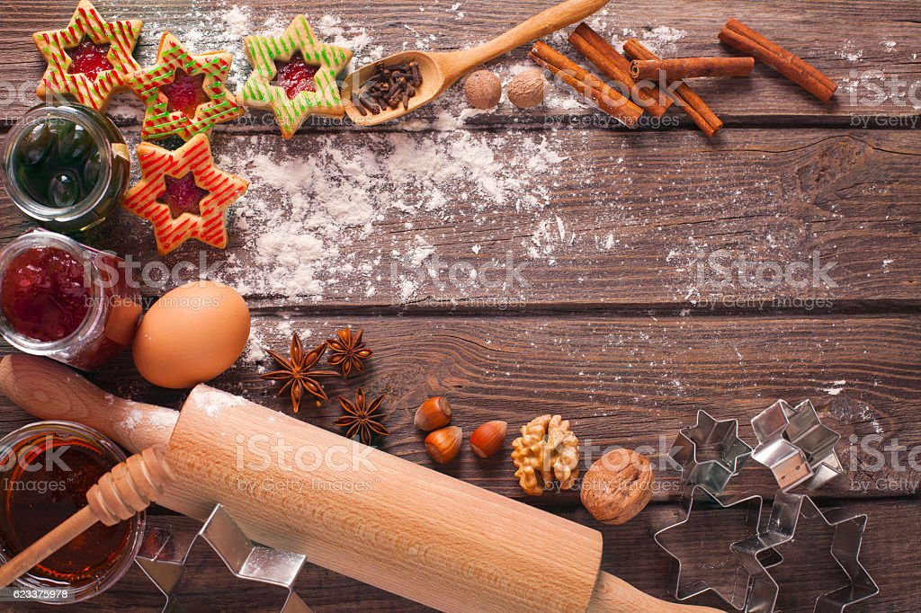 Decorated Holiday Christmas Gingerbread Cookies on wooden table. stock photo