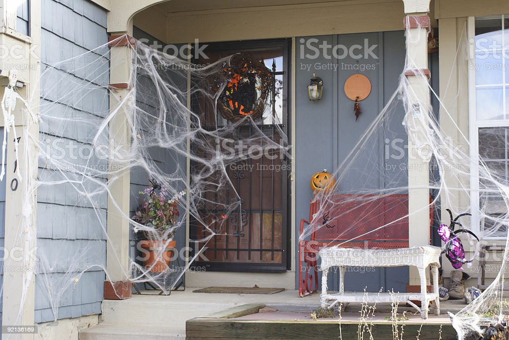 Decorated Holloween house stock photo