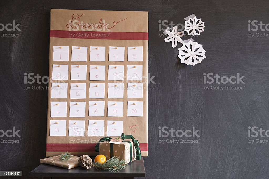 Decorated homemade calendar showing the month of December stock photo