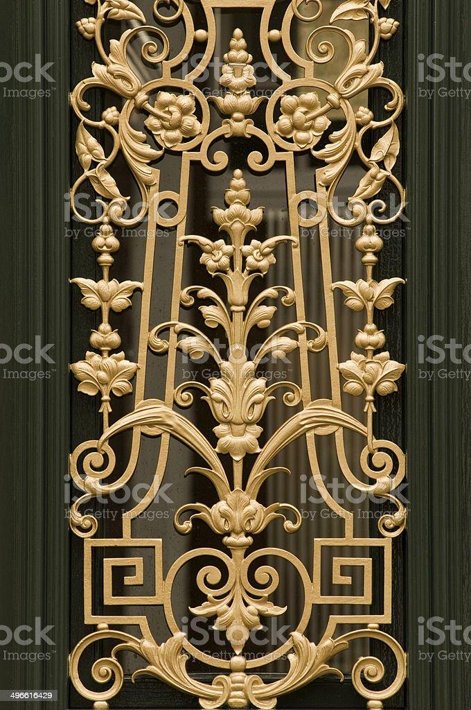 Decorated house door stock photo