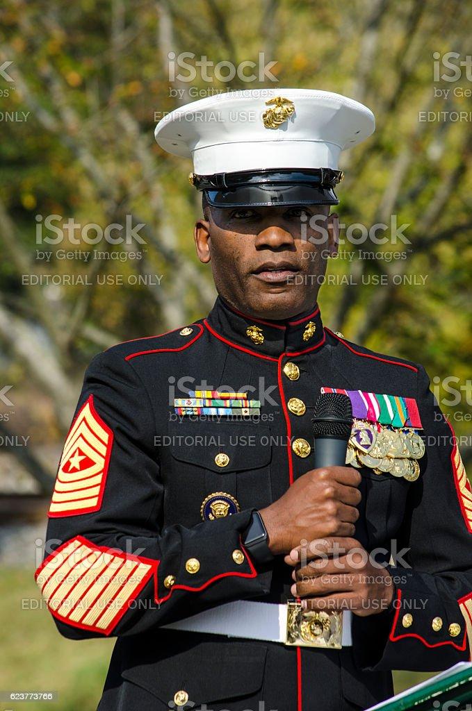 Decorated Marine Gives Keynote Speech at a Veteran's Day Cermony stock photo