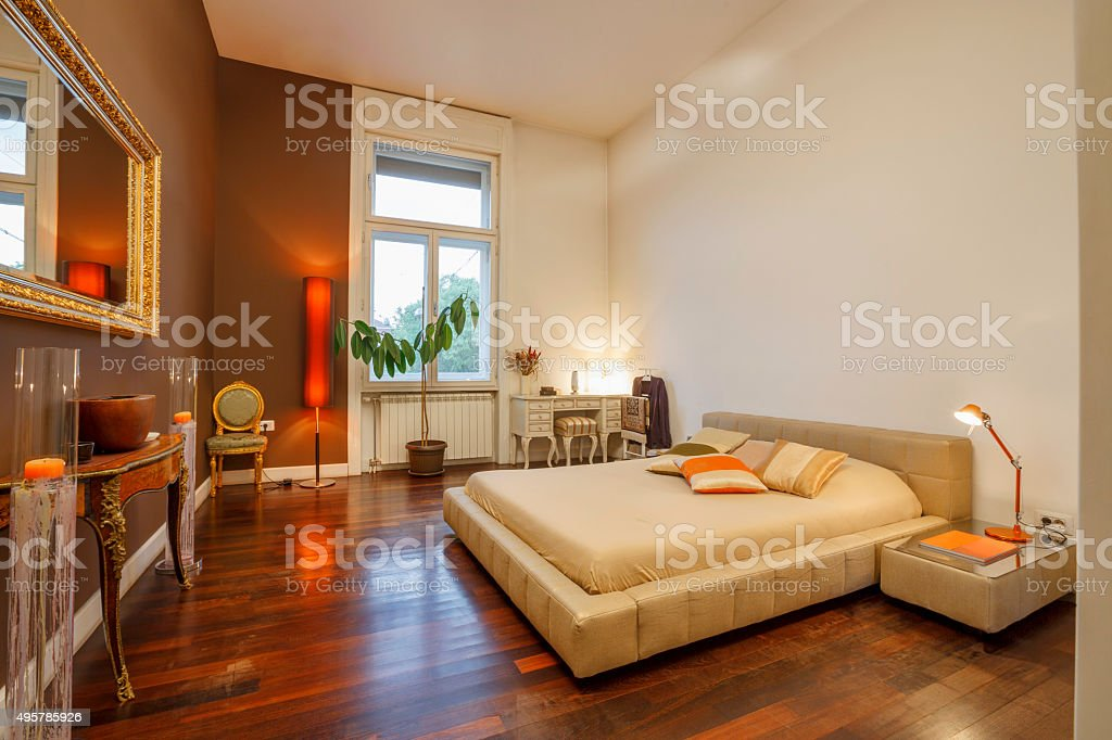 Decorated modern bedroom interior stock photo