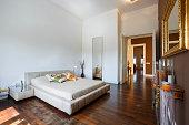 Decorated modern bedroom interior