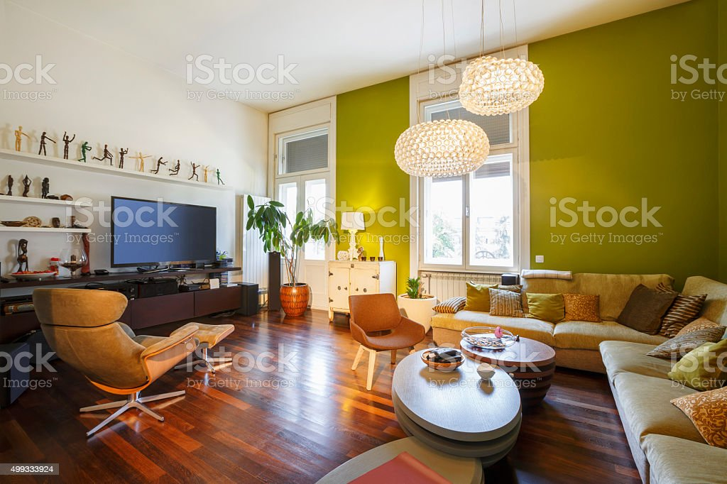 Decorated modern living room stock photo