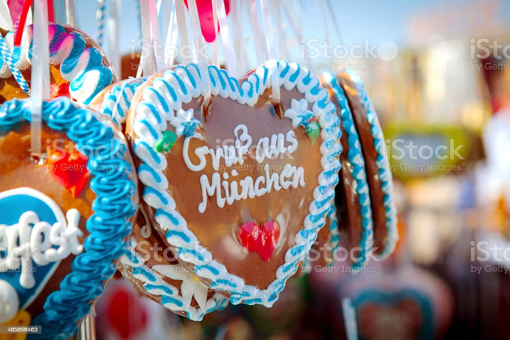 Decorated Oktoberfest hearts on ribbon string stock photo