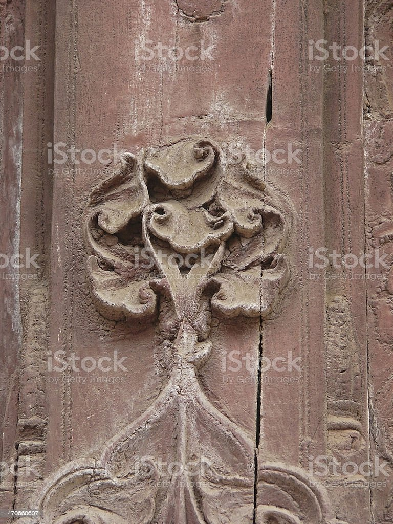 Decorated Pillar in Indore Palace stock photo