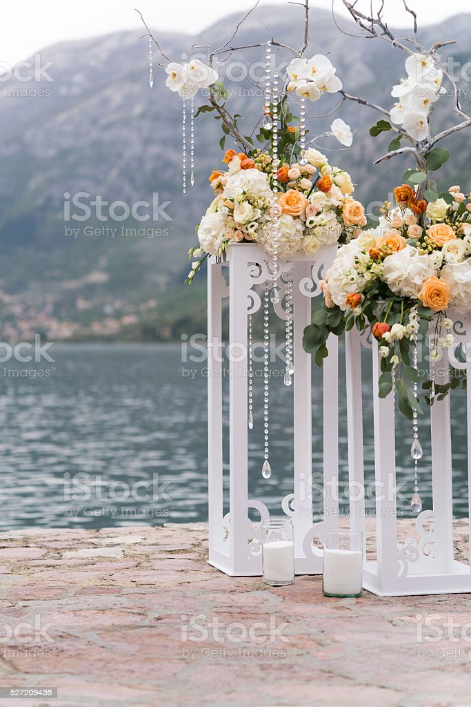 decorated place for a wedding ceremony stock photo