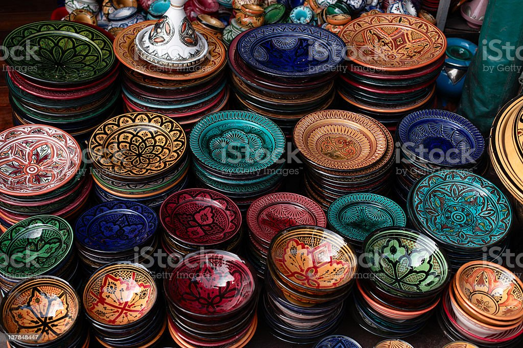 decorated plates and traditional morocco souvenirs in medina so stock photo