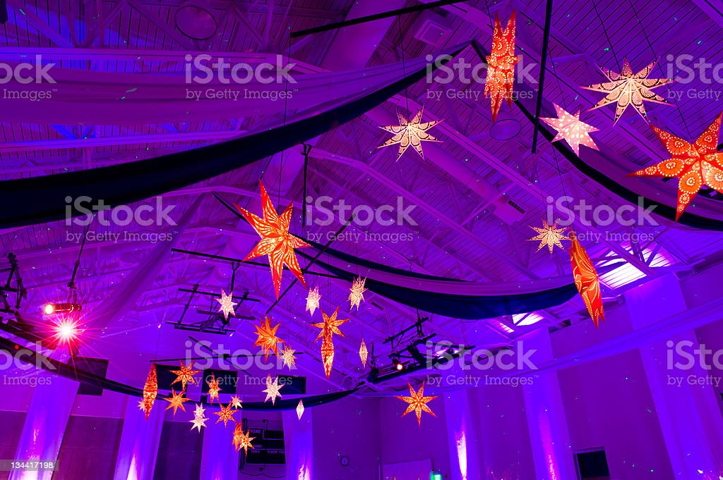 Decorated School Gymnasium for Party Celebration Event royalty-free stock photo