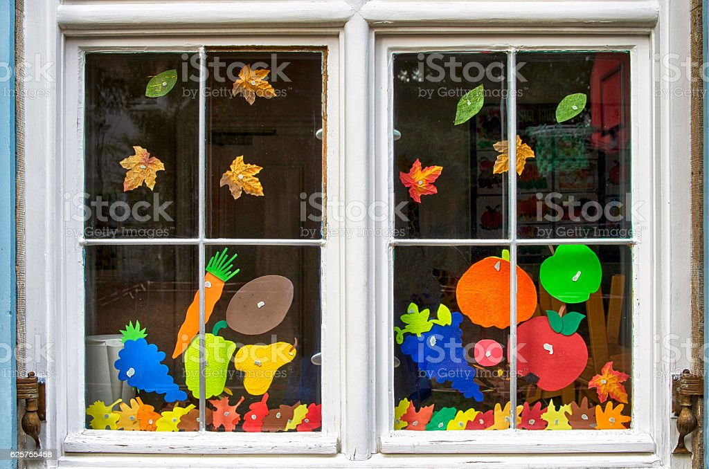Decorated school window royalty-free stock photo