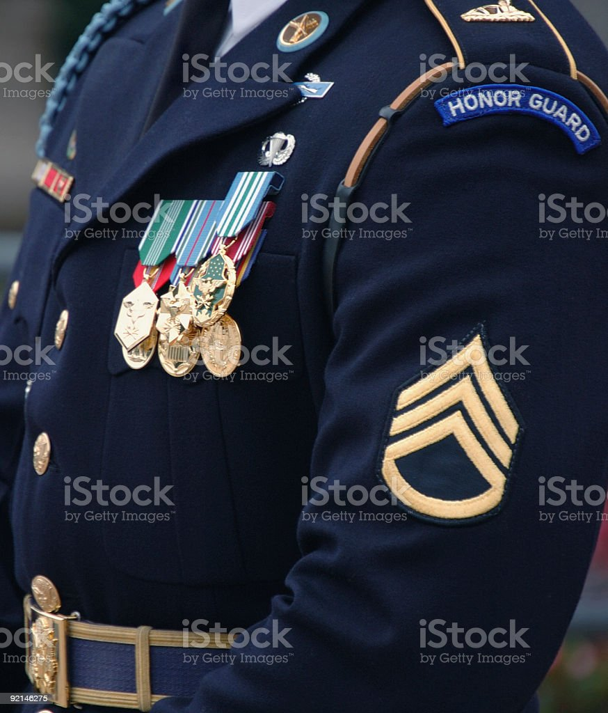 Decorated soldier in dress uniform stock photo