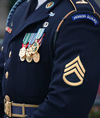 Decorated soldier in dress uniform