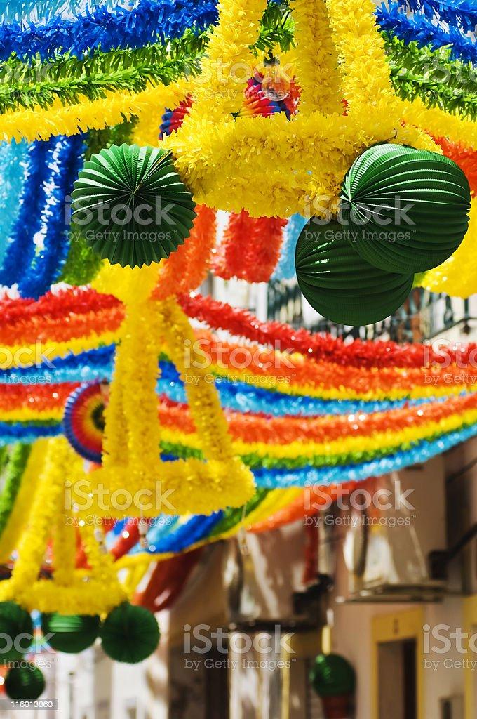 Decorated street stock photo