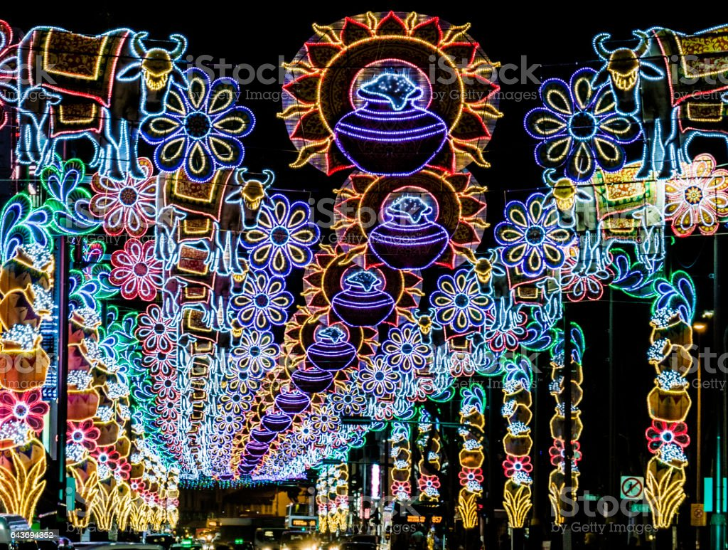 Decorated streets at night in Little India Singapore stock photo